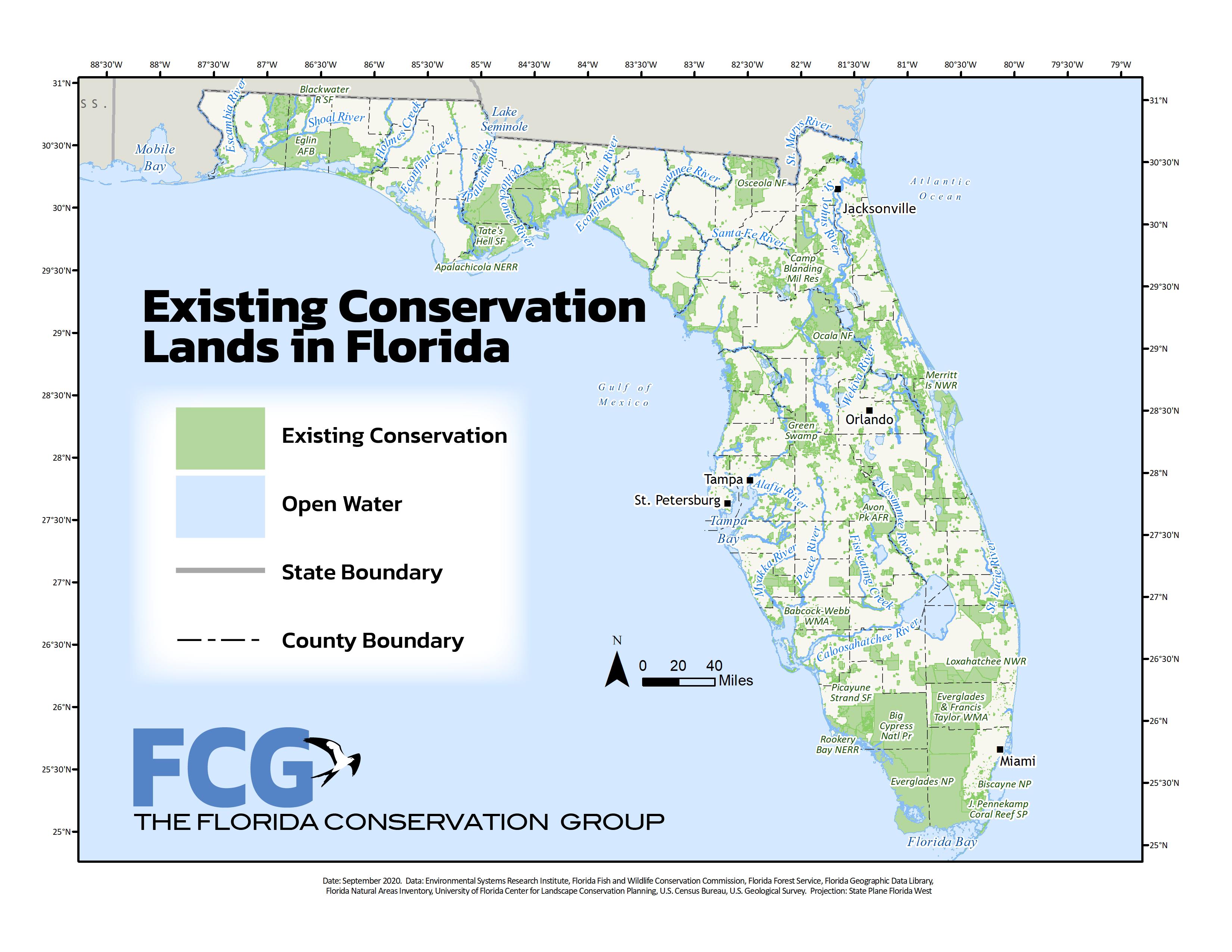 Map of Existing Florida Conservation Lands